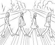 Coloriage the beatles abbey road celebrite stars