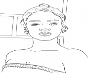 rihanna celebrite star dessin à colorier