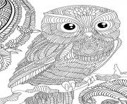 Coloriage hibou adulte animaux anti stress
