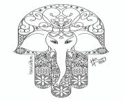 Coloriage adulte elephant hamsa