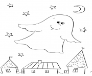 fantome halloween se promene par dessus les maisons dessin à colorier