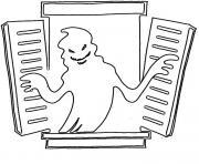fantome qui sort de la fenetre halloween dessin à colorier
