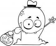 goofy fantome halloween avec des bonbons dessin à colorier