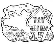 maison hantee fantome halloween dessin à colorier