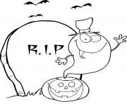 fantome halloween citrouille lune dessin à colorier