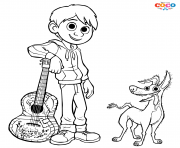 Miguel and Dante Dog Disney Coco dessin à colorier