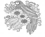 peroquet fleurs coeurs roses adulte dessin à colorier