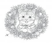 Coloriage mandala noel chat adulte