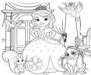 Princesse Disney Sofia et les personnages dessin à colorier