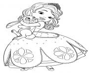 princesse sofia adore son lapin dessin à colorier