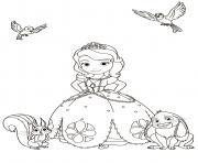 princesse sofia avec les animaux dessin à colorier