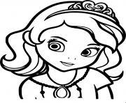 princesse sofia de face portrait visage dessin à colorier