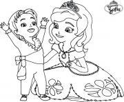 princesse sofia disney avec un enfant dessin à colorier