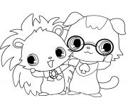 Coloriage Jewelpet Alex et Brownie
