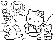 Hello Kitty Animaux Mignon dessin à colorier