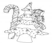 sapin de noel avec canne et cadeaux de noel dessin à colorier