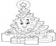 sapin de noel souriant avec des cadeaux de noel dessin à colorier