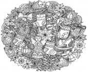 adulte mandala noel complexe dessin à colorier