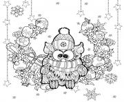 Coloriage adulte noel chouette hibou paysage