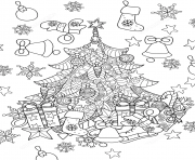 christmas tree zentangle sapin de noel dessin à colorier