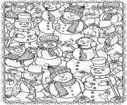bonhomme de neige adulte noel dessin à colorier