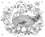 christmas goose avec des pommes zentangle noel adulte dessin à colorier