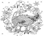 christmas goose avec des pommes zentangle noel adulte dessin à colorier