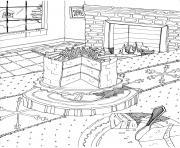 noel adulte gateau paysage maison dessin à colorier