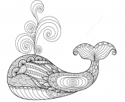 Coloriage whale zentangle adulte
