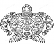 Coloriage turtle zentangle adulte