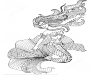 Coloriage mermaid zentangle adulte