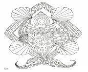 Coloriage fish with tribal pattern adulte