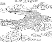 Coloriage swallow in the sky zentangle adulte