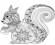 squirrel zentangle adulte_1 dessin à colorier