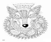 Coloriage wolf with tribal pattern adulte