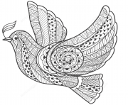 zentangle dove of peace adulte dessin à colorier