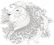 Coloriage zentagle lion with floral elements adulte