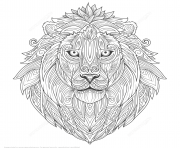 Coloriage lion ethnic zentangle adulte