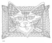 Coloriage raccoon with tribal pattern adulte dessin