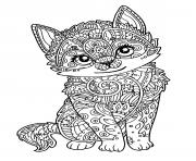 Coloriage chat mignon chaton adulte