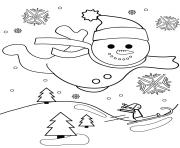 bonhomme de neige vol au dessus dun paysage de noel dessin à colorier