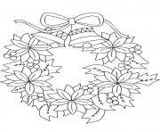 couronne de noel avec fleurs et cloches dessin à colorier
