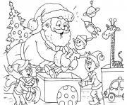 pere noel et ses lutins avec des cadeaux dessin à colorier