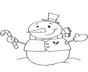 bonhomme de neige avec une canne de noel dessin à colorier