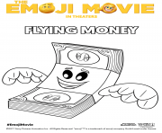 Coloriage flying money emoji monde secret des emojis