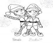 Coloriage deux lutins de noel jumeaux dessin