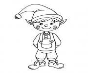 lutin de noel souriant enfant dessin à colorier