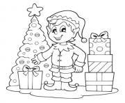lutin de noel sapin et cadeaux dessin à colorier