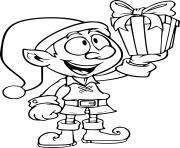 lutin noel hd avec cadeau dessin à colorier