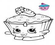 shopkins cupcake blue pink dessin à colorier